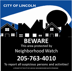 Neighborhood Watch Program – City of Lincoln, Alabama